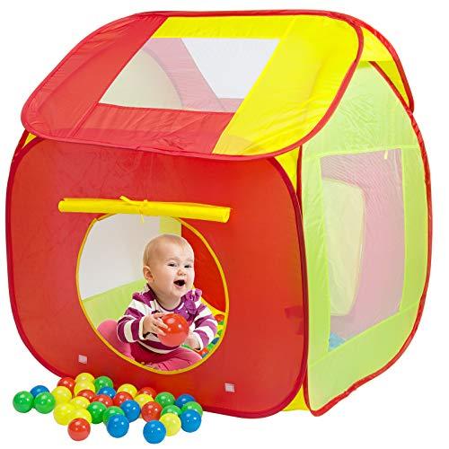 Spielwerk Bällebad Spielzelt Pop Up Funktion Spielhaus inkl. 200 Bunte Bälle Tragetasche Netzfenster Insektenschutz