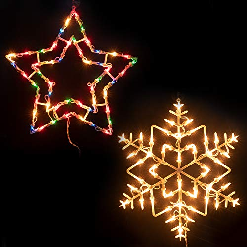16 Inch Christmas Window Silhouette Lights Decorations Pack of 2 Lighted Snowflake and Star Christmas Window Lights with 100 Bulbs for Holiday Indoor Wall Door Glass Decorations