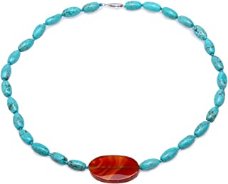 JYX Turquoise Necklace 8×12.5mm Blue Irregular Turquoise dotted a 22×35mm Agate Pendant Single-strand Necklace AAA Handmade Gemstone Beads Necklace