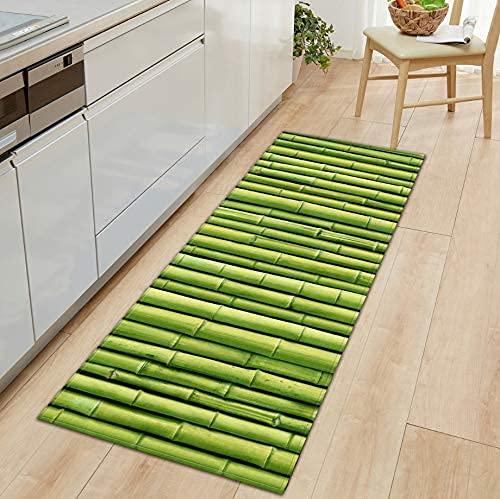 LYTBJ Alfombra de Pasillo, tapetes para Cocina, bambú Verde, tapete para Ventana salediza, alfombras para Dormitorio, alfombras pequeñas Antideslizantes, Lavables, 50x80cm