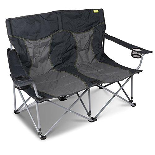 Campingstuhl für 2 Personen 2x120kg belastbar mit Getränkehalter Transporttasche Aufbewahrung einfach zusammenfaltbar Campingbank Doppelsitzer Camping Stuhl 2 Sitzer Faltbank Faltstuhl Campingstühle