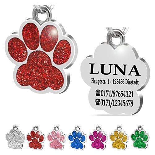 Iberiagifts - Hundemarke Pfote mit Gravur für kleine bis mittelgroße Hunde oder Katzen - Plakette graviert personalisiert (Rot)