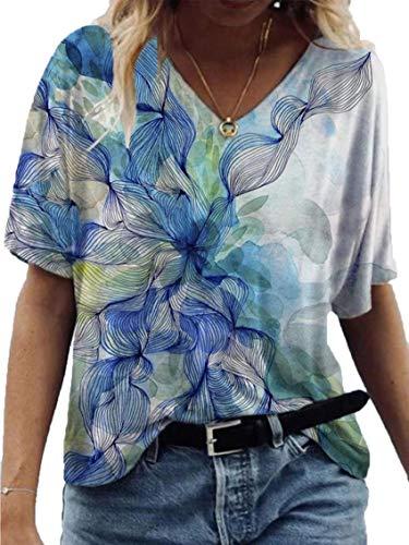 Wsgyj52hua 2021 Primavera Y Verano Estilo Europeo Y Americano Damas Nuevo Paisaje Estampado De Flores Camiseta De Manga Corta Top Femenino