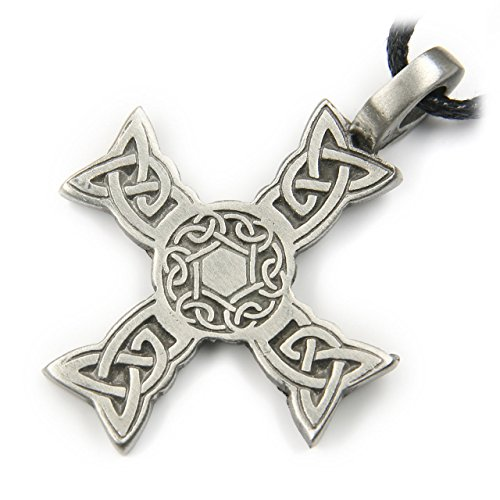 Drachensilber Kelten Kreuz Schmuck Amulett Talisman Schmuckzinn, Länge mit Hänger: 4cm, inkl. Band Biker Kette Anhänger