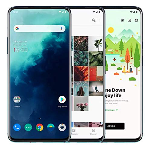"OnePlus 7T Pro Smartphone 6.67""/16.9 cm AMOLED Display 90Hz Screen, 8 GB RAM + 256 GB Storage, Triple Camera + Pop-Up Camera, Warp Charge 30, Haze Blue"
