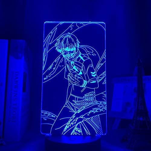 Lámpara 3D LED ilusión nocturna anime Tokyo Ghoul 3D Lamp Ken Kaneki Light para niños boy Bedroom Decor Night Light manga Birthday Gift Toy Tokyo Ghoul LED lámpara de mesa 7 colores Touch LUOXIA