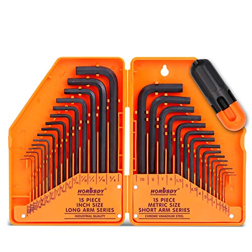"HORUSDY Hex Key Set, Allen Wrench Set Inch/Metric 30-Piece MM(0.7mm-10mm) SAE(0.028""-3/8)"
