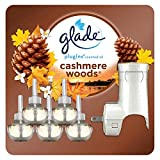 Glade PlugIns Refills Air Freshener Starter Kit, Scented and Essential Oils for Home and Bathroom, Cashmere Woods, 3.35 Fl Oz, 1 Warmer + 5 Refills