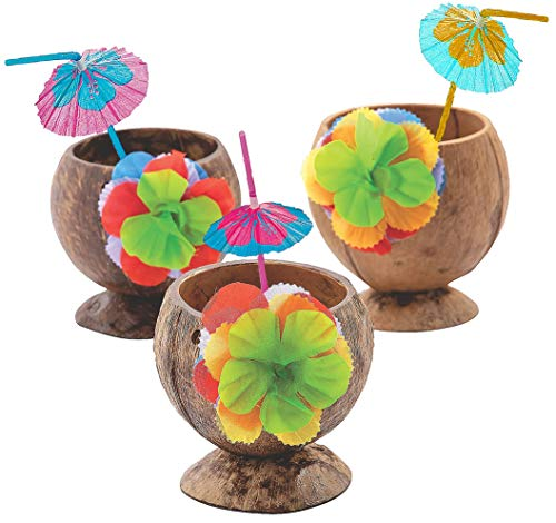 4E's Novelty - Juego de 3 tazas de coco natural con flores de hibisco y pajitas para sombrillas – fiesta hawaiana Luau para niños, tiki y playa temática de fiesta temática divertida bebida o decoración