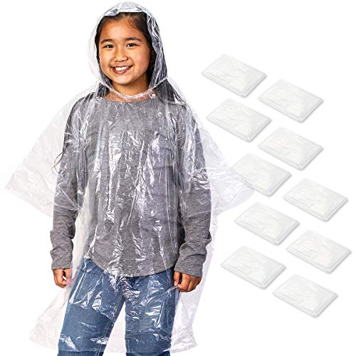 Juvale 10 Pack Kids Disposable Rain Ponchos with Ball, Child Emergency Waterproof Raincoat with Hood for Boys and Girls, Clear, 42.5 x 36.5 Inches