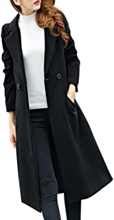Ausexy Womens Fashion Slim Long Woolen Coat Casual Lapel Button Autumn Winter Plus Size Overcoat Parka Outwear Cardigan