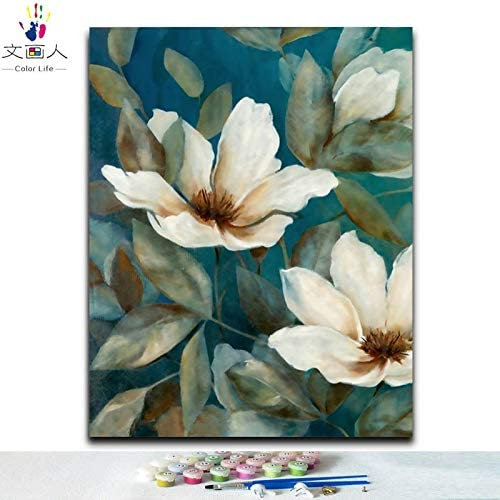 KYKDY Couleuriages bricolage images par numéros avec couleurs plante fleur image dessin peinture par numéros encadrées Accueil décorations murales Deux pièces, 1115 à gauche, 80x100 sans cadre