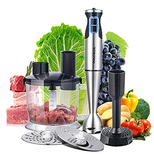 GOLMEZIL Stabmixer Set, 4-in-1 Hand Blender, 800 W Blender Mixer with Variable Speed Control, 1500 ml Küchenmaschine, Einsatz mit Messer, Kartoffelstampfer, für Babynahrung, Gemüsemühlen, Hackfleisch