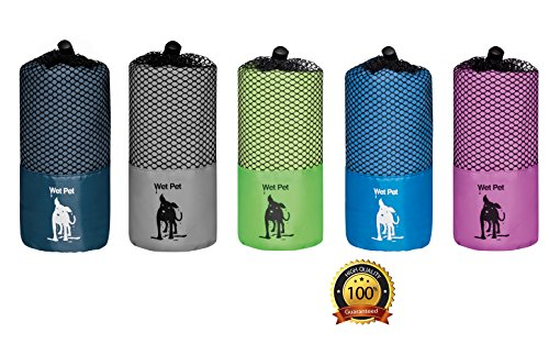 Wet Pet Großes Hundehandtuch (120x80 cm) aus Mikrofaser: schnelltrocknend, super saugfähig (grau)