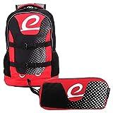 """BESTLIFE Mochila y estuche en un set """"MERX"""" mochila escolar, para el tiempo libre con compartimento para el portátil hasta 15,6 pulgadas (39,6 cm), negro/rojo"""