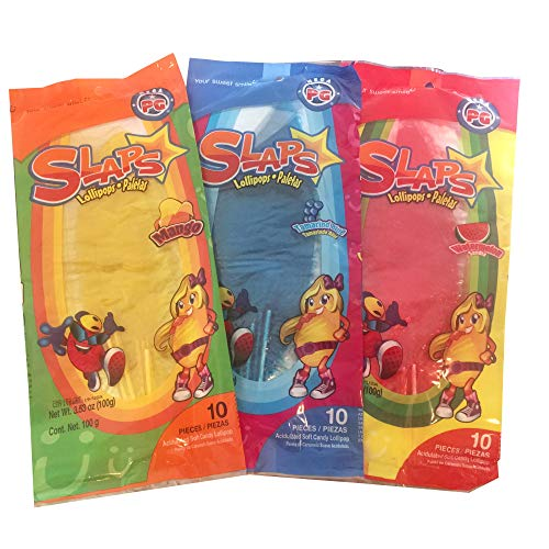Slaps Paletas / Lollipops, Mango, Sandia (Watermelon) and Tamarindo Azul (Tamarind Blue), 10 Piezes (Pieces) Each, 30 Piezes (Pieces) Total, 300 Grams, 10.59 Ounces Total