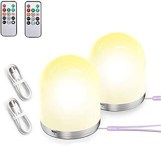 Luz Nocturna de LED,Ozvavzk Lámpara de Mesita de Noche Recargable con Modo RGB Gradiente de Colores Lámpara de Mesa para La Fiesta Regulador SOS parpadea,la luz Amarilla y Blanca Caliente