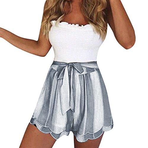 Kurze Hosen Damen Sommer Shorts High Waist Gestreift Drucken Bowknot Lässige Gemütlich Kurze Hosen Freizeithose Beachshort Sporthose Taillen-kurze Hosen Bermuda Shorts Hotpants Strandshorts