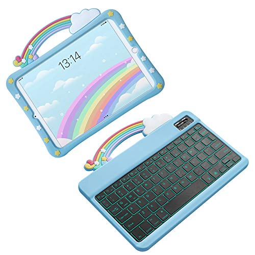 Ipad 10.2 8Th/7Th Generation 2020 Kids Case with Keyboard - Rainbow Shockproof Handle Stand Silicone Protective Cover, 7 Color Backlit Bluetooth Keyboard,Case with Backlit Keyboard2