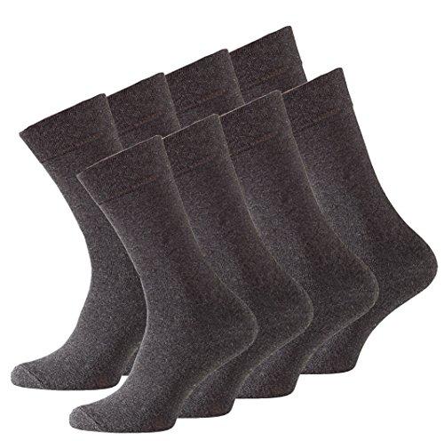VCA 8 Paar Herren COMFORT Socken, anthrazit Ohne Gummib&, Baumwolle mit Elasthan - Cottonprime
