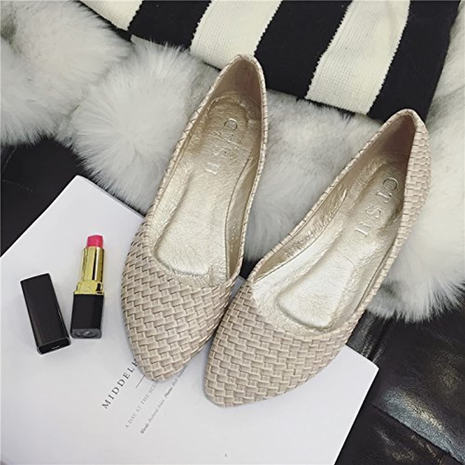 WYMBS Beste gift New retro braided light port female single shoe points with flat flat shoe women shoes