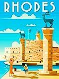 Letrero de chapa con diseño retro de la isla de Rodas, Grecia, griega, isla griega, europeo, estilo vintage, bar, cocina, cueva, cafetería, cafetería, decoración de pared (20 x 30 cm)