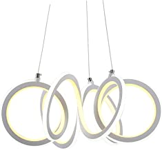 Tiffw Posmoderna 6 luz Pendiente Extranjero Blanca del Hierro labrado 2 Caras LED Que cuelga Luces Blanco/Caliente Luz 138W Espacios de Oficina Sala de reuniones Sala de iluminación