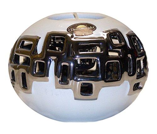Dreamlight Traumlicht Teelichthalter CARRE CERAMICS / Fb. weiß - silber / Höhe ca. 8 cm - Durchmesser ca. 10 cm