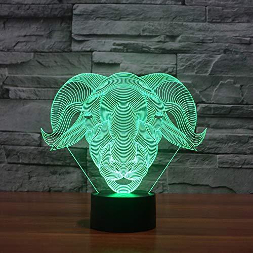 JYHW Ledschaap Ram modelleer, 3D-wooncultuur, visie, geiten, bureaulamp, usb 7 kleurrijke verandering, babyslaap, nachtlampje