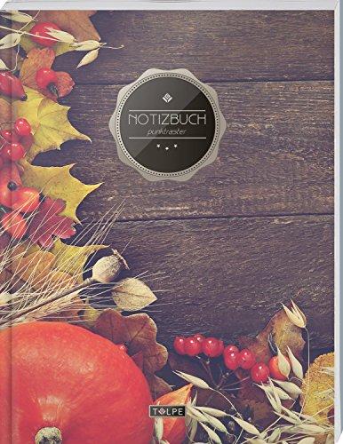 """TULPE Punktraster Notizbuch A4 """"C137 Herbstdeko"""" (140+ Seiten, Vintage Softcover, Punktkariertes Papier - Bullet Journal, Dickes Notizheft, Skizzenbuch, Tagebuch, Gepunktete Seiten, Dot Grid Notebook)"""