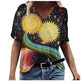 riou Camiseta de Mujer Escote en V Shirt 2021 Impresión de La Vendimia Casual Tallas Grandes Camiseta Blusas Tops Baratas Blusas Camisa Basica