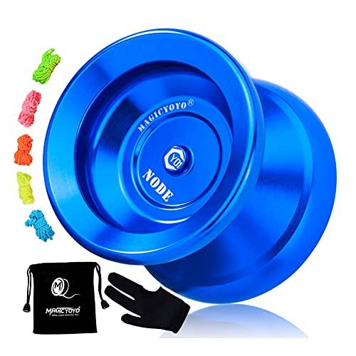 MAGICYOYO Professional Unresponsive Yoyo Y01 Node, Alloy Aluminum Yoyo Pro Yoyo for Intermediate Advanced Players, with Yo-yo Bag + Glove + 5 Strings (Blue)