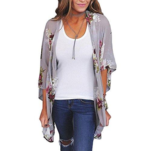 CUCUHAM Women Chiffon Loose Shawl Print Kimono Cardigan Top Cover Up Blouse Beachwear (L, Gray)