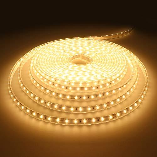 HOFTRONIC - LED Strip 10m 3000K Warmweiß LED lichtband IP65 Wasserdicht Dimmbar für Innen und Außen, Bad, Wohnzimmer, Küchen und Garten 60 LEDS/m Plug and Play 13200 Lumen (1320 Lumen pro Meter)