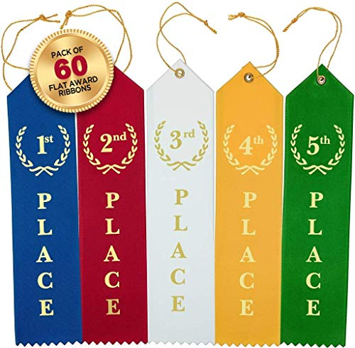 Award Ribbons Place 1st 2nd 3rd 4th 5th Premium Flat Carded Set - Blue Red White Yellow Green & Event Card 12 Each (60 Pack) - by Clinch Star