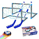welltop Hover Hockey Set Toys, Hovering Hockey Game con 2 Objetivos y Luces LED, Regalos de fútbol aéreo de Interior para 3 4 5 6 7 8 9 años Niños