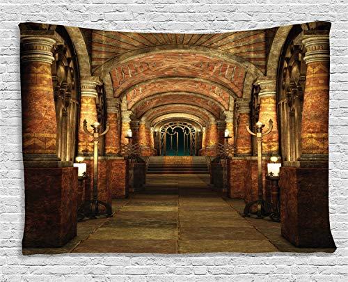 ABAKUHAUS gotisch Wandteppich, Geheimgang Mittelalter, Wohnzimmer Schlafzimmer Heim Seidiges Satin Wandteppich, 200 x 150 cm, Braun Rot