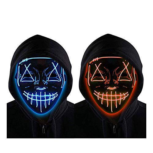 2 Pack Halloween LED Mask Light up Scary Glowing Mask for Adults Kids Cosplay Costume Festival Party Red and Blue