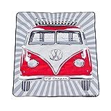 BRISA VW Collection - Volkswagen Furgoneta Hippie Bus T1 Van Manta de Picnic Grande con Bolsa de Transporte, Alfombra Plegable y Impermeable, Toalla para Playa/Outdoor/Camping/Regalo (Rayas/Rojo)