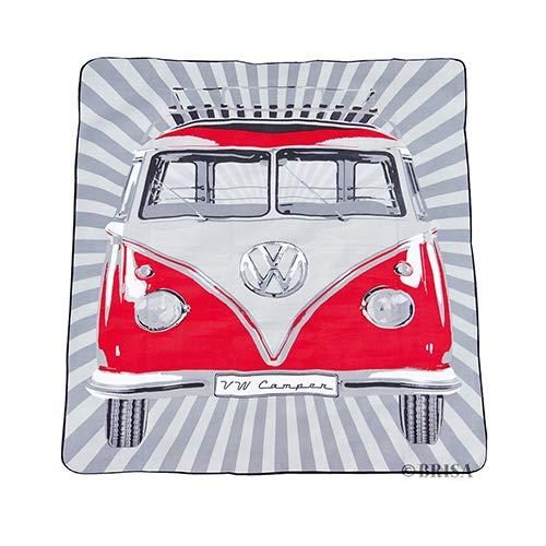 BRISA VW Collection - Volkswagen T1 Bulli Bus Picknick-Decke mit Tragetasche, Feuchtigkeitsfest & Robust (Rot/200x150cm)