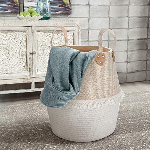 La Jolíe Muse Wäschekorb Aufbewahrungskorb aus Baumwolle Seil, Kinderzimmer Wohnzimmer Badzimmer, Wäschesammler, Groß Stabile mit Griff, H40 x D38cm