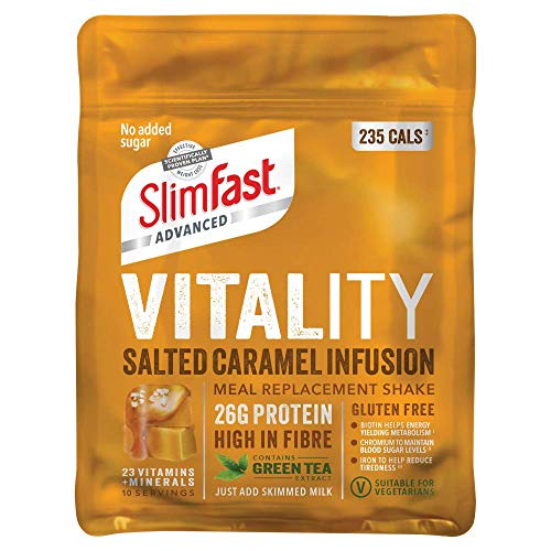 SlimFast Advanced Vitality High Protein Meal Replacement Powder Shake, Salted Caramel Infusion, 10 servings, 400 g