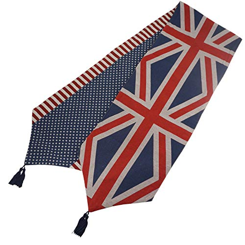 LYENSKIL Mediterranean Style Table Runner and Dresser Scarves with Tassels,Double-Sided American British Flag Jacquard Table Cloth Runners for Dining Table Tea Coffee Table, 210cm x 32cm