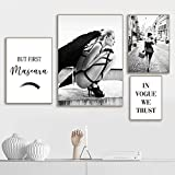 Rudxa Moda Angel Wing Mascara Vogue Picture Poster Black White Wall Art Canvas Painting Living Room Decor-4 pcs/Set sin Marco