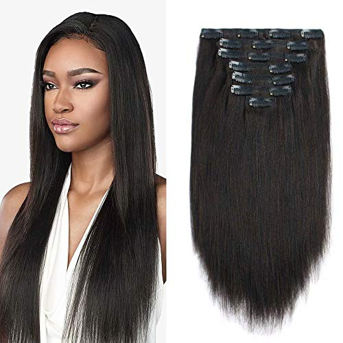 Maxfull Light Yaki Clip in Hair Extensions Human Hair for Relaxed Hair, 1B, Real Remy Hair Extensions Clip in Human Hair for African Americans, 7pcs, 22inch, 120g