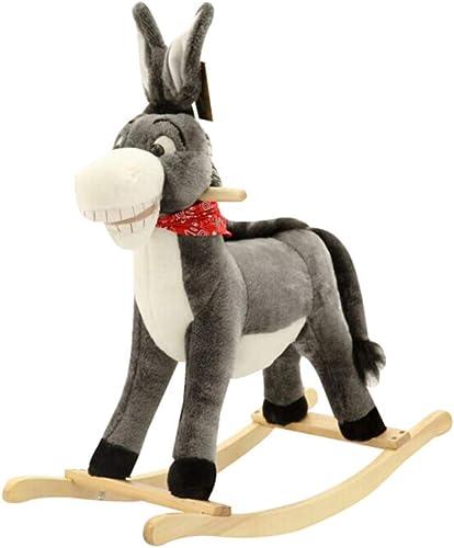 Rocking Horse Schaukeltier,Schaukelpferd Aus Holz Plüsch Schaukelpferd Für Baby 1-3 Jahre Khaki Esel Schaukelpferd Indoor-Outdoor Schaukelpferd Spielzeug