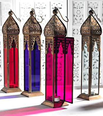 Tall Elegant Moroccan Lantern, Purple, by White Candle Company by Candle Lanterns