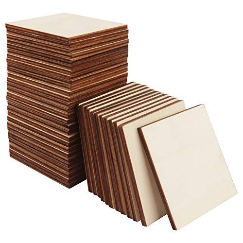 BELLE VOUS Sottobicchieri Legno Quadrati (60 Pacco) - 7,5x7,5cm Quadrato di Legno Bianco con 0,5cm Spessore - Legno Grezzo Grezzo per Artigianato in Legno & Artigianato d'Arte Fai-da-Te