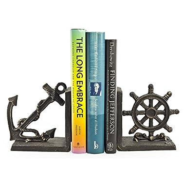 Danya B. ZI08303 Nautical/Coastal Home Decor – 2-Piece Metal Bookend Set with Anchor and Captain's Wheel