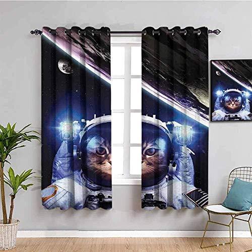 Nileco Cortinas de Opacas - Ciencia ficción astronauta animal gato - 280x245 cm - 3D Impresión Digital con Ojales Aislamiento Térmico - para Sala Cuarto Comedor Salon Cocina Habitación